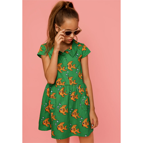 Collared Pocket Dress-green fish