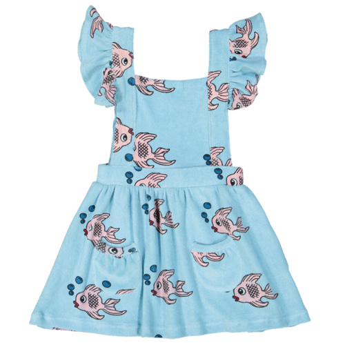 Terry Ruffle Play Dress-blue fish