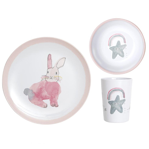 pax and hart-pink bunny dinner set