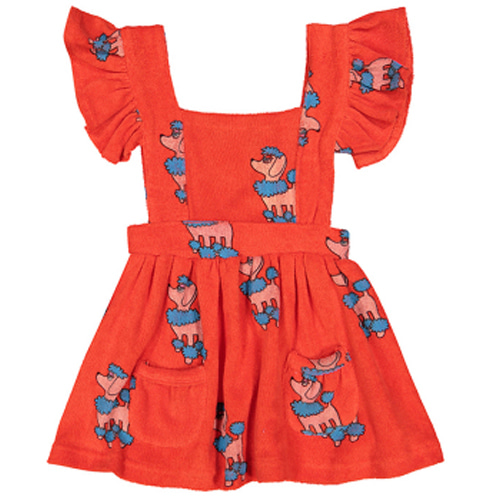 Terry Ruffle Play Dress-red poodle