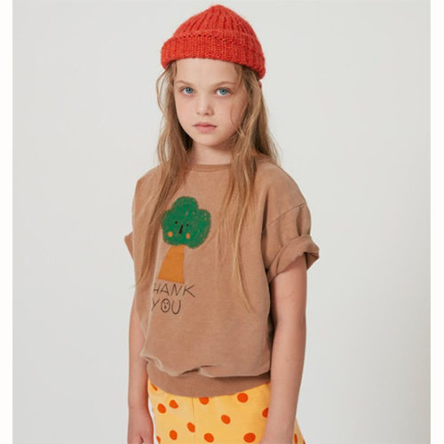 [Weekend House Kids]Tree Short Sweat Shirt-camel