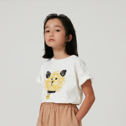 [Weekend House Kids]Dog t-shirt-white