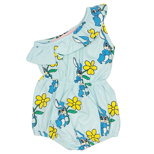 [HUGO LOVES TIKI]One Shoulder Romper-blue bunnies