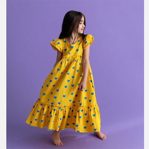 [HUGO LOVES TIKI]Woven Maxi Dress-yellow blue hearts